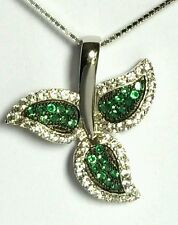 GENUINE & SOLID 925 STERLING SILVER Pave  Emerald Green Pendant RRP $45