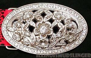 Rhinestones & Flowers Metal Women's Belt Buckle MSRP $19.95