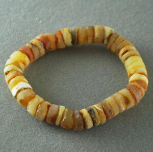 Baltic amber bracelet Men's  raw unpolished yellow