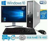 "FAST PC COMPUTER DESKTOP SET HP CORE i5 8GB RAM 1TB HDD WIN 10 22"" MONITOR WIFI"