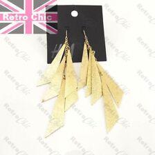 "BIG 5""long GOLD FASHION stardust H+M EARRINGS chain dangle 80s RETRO disco glam"
