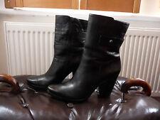 RIA ROSA WOMENS BLACK SOFT LEATHER MID CALF BLOCK HIGH HEEL BOOTS UK 7 EU 40