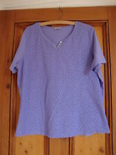DAMART. LILAC TOP WITH EMBROIDERY ANGLAISE FRONT JERSEY BACK.  SIZE 18/20