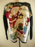 Womens sz L Mens M Heirloom Collectibles 1996 Christmas Sweater Black Ugly Santa