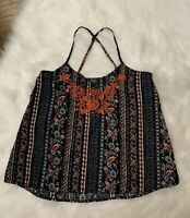 Hollister Embroidered Tank Top Black Gray Floral Boho Gypsy Cami Juniors XS