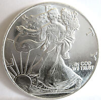 ".999 FINE SILVER WALKING LIBERTY ""HM"" EAGLE SHIELD STARS 1 TROY OUNCE ROUND"