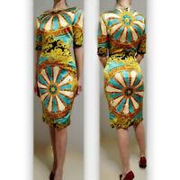 AUTH rare Dolce&Gabbana multicolor wheels printed barocco silk dress 40