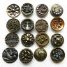 Antique Victorian Beautiful Small Fancy Metal Buttons Pictorial Cut Steel