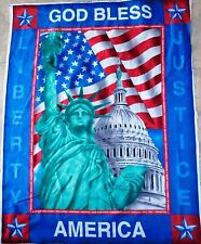 GOD BLESS AMERICA FABRIC PANEL quilt top PATRIOTIC FABRIC STATUE OF LIBERTY BTP
