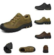 Mens Trail Sneakers Leather Outdoor Lace Up Casual Outdoor Hiking Shoes Non-Slip