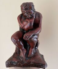 """Vintage 8"""" Resin The Thinker Statue Famous Thinking Man Sculpture Book End EUC"""