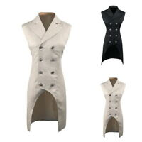 Men Double Breasted Lapel Collar Waistcoat Jacquard Vest Gothic Steampunk HL