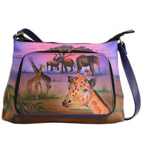 Anuschka Leather Travel Crossbody Handbag Anna Unique Artwork Serengeti Sunset