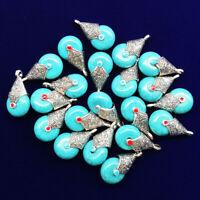 12Pcs Carved Tibetan silver Wrapped Blue Turquoise Teardrop Pendant Bead NN1197