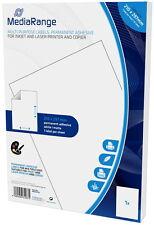 100 Mediarange Etiketten Label selbstklebend A4 210 x 297 mm auf 100 A4 Bogen