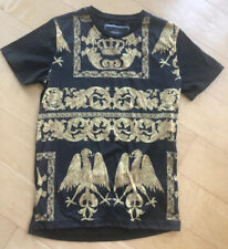 CRIMINAL DAMAGE Black / Gold Baroque T Shirt SMALL