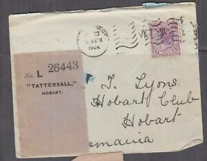 VICTORIA, 1904 Tatt's cover with Label attached, 2d., Melbourne machine..