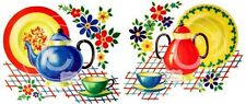Vintage Image Retro Kitchen Dishes Teapot Cup Saucer Waterslide Decals KI375