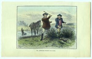 Mr. Jorrocks Starts the Hare by J. Jellicoe. (Antique 1888 Colour Book Plate)