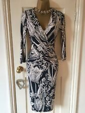Phase Eight 'Berkley Wrap' Dress UK 8 Navy Floral Print Excellent Condition