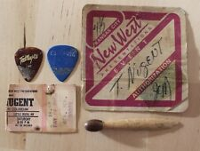 Rare Vintage Ted Nugent Used Guitar Pick & Concert Tickets Backstage Pass