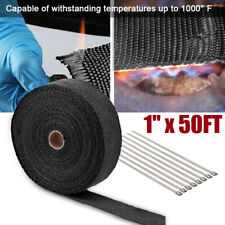 "1"" x 50FT Roll Black Manifold Exhaust/Header Pipe Heat Wrap Insulation Tape ties"