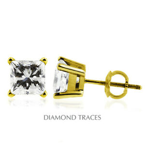 1 CTW F SI2 Princess Cut Earth Mined Certified Diamonds 14k Gold Stud Earrings