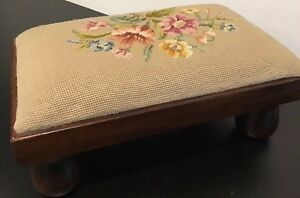 1900's Mahogany Rectangular Footstool With Tapestry Top & Solid Bun Feet