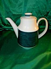 alte Arzberg Germany Inglaze Porzellan Kaffekanne Teelanne  weiß blau Streifen