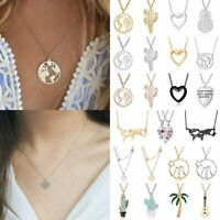Fashion Stainless Steel World Map Necklace Heart Hollow Women Chain Jewelry Gift