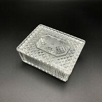 VTG Imperial Clear Glass Floral Lid Box 7850 Intaglio Cut Cigarette Trinket Dish