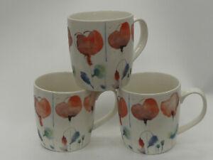 (ref288MG1) Sainsbury's Mugs x 3 Poppies