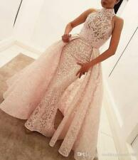 Sexy Hihg Neck Lace Mermaid Prom Dresses With Detachable Train Sheer Sleeveless