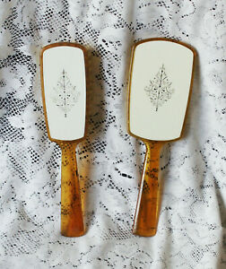 Vintage Celluloid Dressing Table Brush & Hand Mirror Made in England