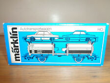 MARKLIN HO SCALE #4613 AUTO CARRIER WITH 4 AUTOS, WRAPPER AND BOX