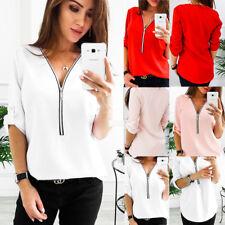 UK Womens Casual Tops Shirt Ladies V Neck Zipper Loose T-shirt Blouse Tee Top