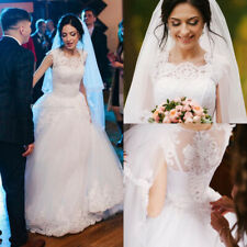 Simple Cap Sleeve Wedding Dresses A Line With Lace Applique Bridal Gowns Custom