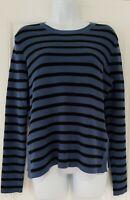 Womens Ganni Blue Black Stripe Ribbed Side Splits Long Sleeve Jumper XL New.