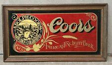 Vintage Coors Beer Mirror Reverse Glass Printing Framed Gold Leaf Bar Sign 27×15