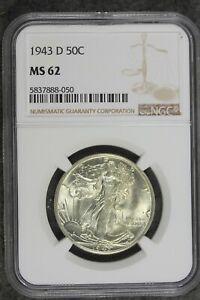 1943 - D NGC MS62 Walking Liberty Half Dollar!!  #B22206