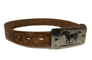 Vtg Sears by Chambers LeatherBelt Co-Youth SM(19-21.5)Black/Silver Horse Buckle