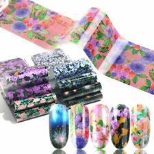 16pcs/set Flower Nail Foils Nail Art Transfer Holographic Starry Paper Decals