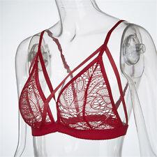 Women Floral Sheer Lace Triangle Bralette Unpadded Bra Crop Top Strappy Lingerie