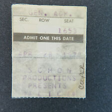 1979 Alice Cooper Concert Ticket Stub Rushmore Plaza Civic Center Rapid City, SD