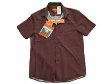 Tallia Sport Men's Burgundy Stretch Square Short Sleeve Button Down Shirt
