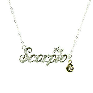 Clear Crystal on Silver Plated Zodiac Star Sign Necklace MORE STAR/ZODIAC SIGNS