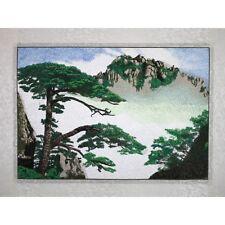 """Stickbild Stoffbild """"Kiefer im Gebirge"""", chinesische Stickerei, Stickkunst"""