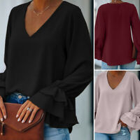 Women Slim Tunics OL Office V Neck Tops Ladies Shirt Blouse Pullover Jumper Plus