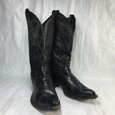 Vtg Usa Justin L4753 Black Leather Mid Calf Pull On Womens Cowboy Boots Sz 8.5B