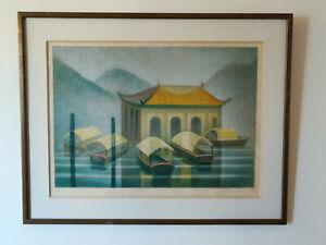 """Lithographie """"Le temple de la sérénité"""" TOFFOLI 1995"""